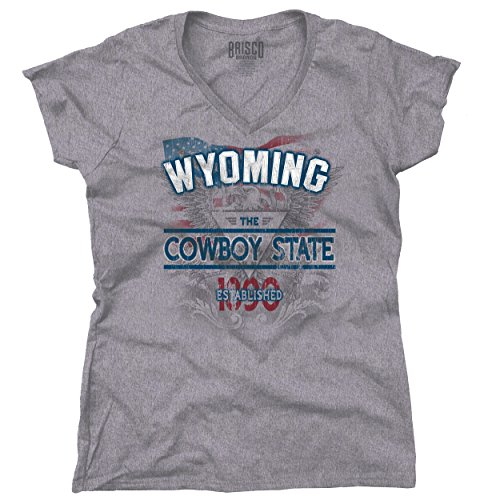 Wyoming State America Bald Eagle USA T Shirt Patriotic Cool Junior V-Neck Tee (Wyoming Eagle)