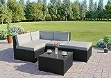 Abreo Rattan Modular Corner Sofa Set Garden Conservatory Furniture 5 To 9 Pcs (Faro, Black)