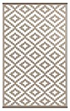 Green Decore Nirvana Outdoor/Reversible Eco Plastic Rug, Taupe/White