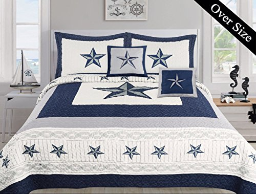 Dallas Cowboys Blue Star Comforter Set - 5 Piece Set (Bonus Pack) (Oversized King) (Bedding Dallas Cowboy)
