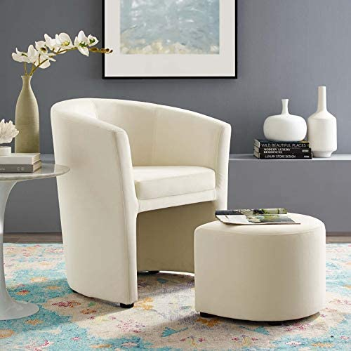 Modway Divulge Performance Velvet Armchair and Ottoman Set in Ivory