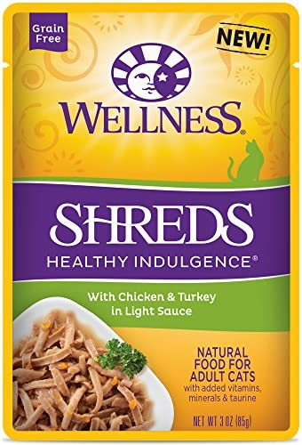 Wellness Healthy Indulgence Natural Grain Free Wet Cat Food Pouches Shreds Chicken Turkey