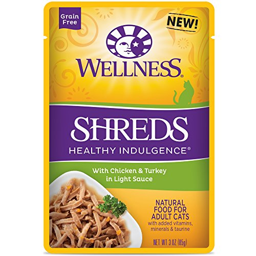 Wellness Healthy Indulgence Natural Grain Free Wet Cat Food, Shreds Chicken & Turkey, 3-Ounce Pouch (Pack of 24)