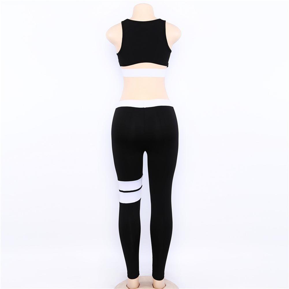 Donna Sportiva Tuta 2 Pezzi Set Colore Solido Senza Maniche Gilet Vita Alta Traspirante Pantaloni Sportivi Tuta da Jogging S M L