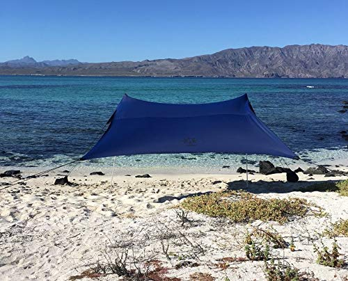 Neso Tents Beach Tent with Sand Anchor, Portable Canopy Sunshade - 7' x 7' - Patented Reinforced Corners (Navy) by Neso