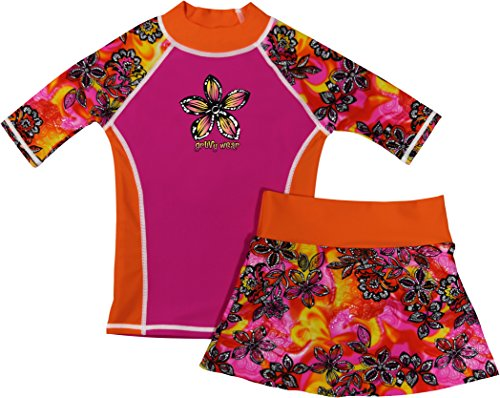 grUVywear Girls Rash Guard Sun Protective UV Swim Shirt & Bikini Swim Skirt Set