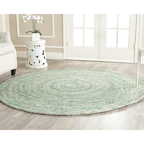 Safavieh Ikat Collection IKT635A Handmade Ivory and Blue Premium Wool Round Area Rug (8' Diameter) 8' Round Wool Rug