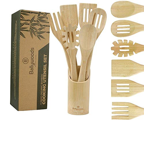 Organic 7 Piece Bamboo Cooking Utensils Set with 6 Utensils & Round Holder. Premium Vertical Grain, Unvarnished, Wooden Spoons, Fancy Spaghetti Server, Eco-Friendly Natural