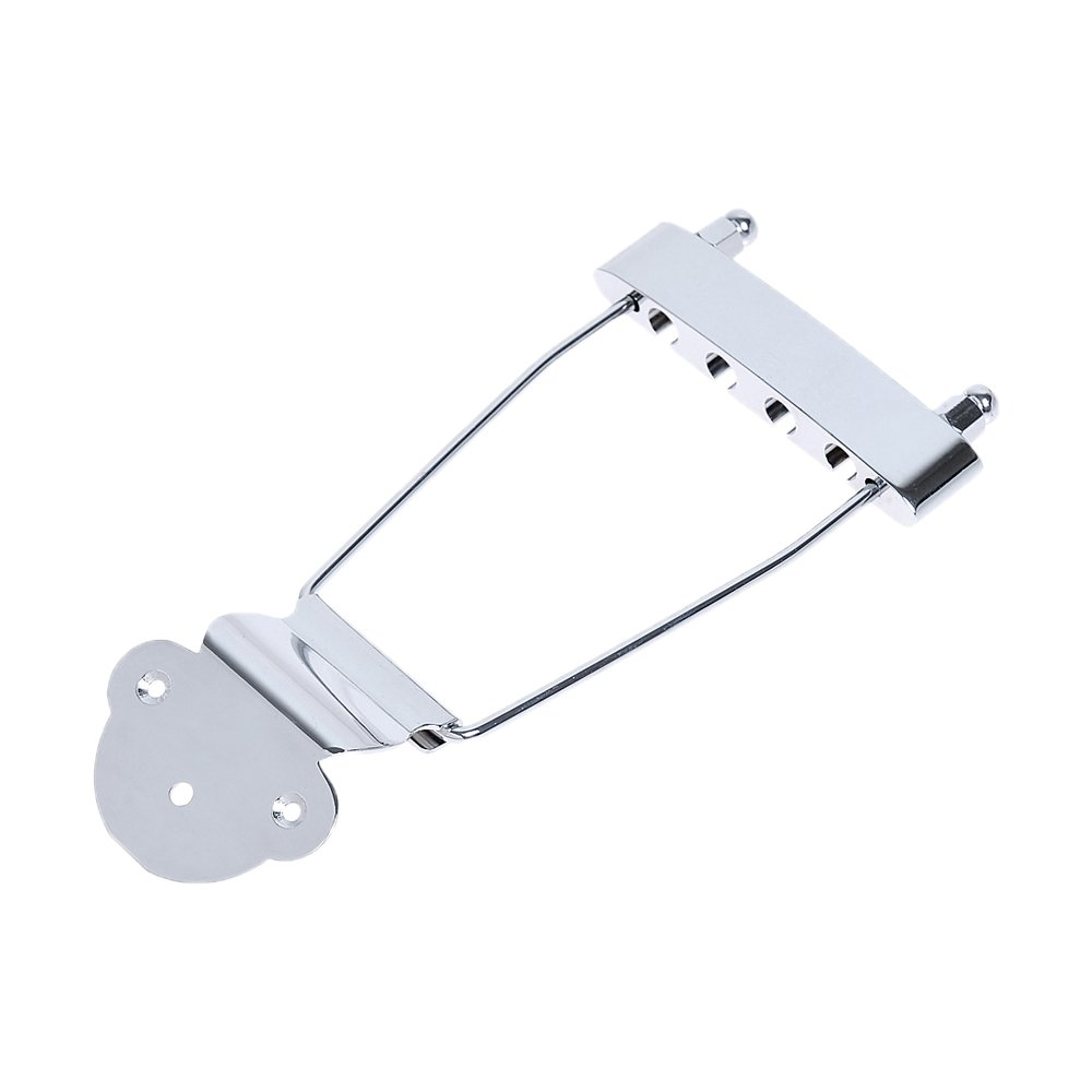 Kmise A3245 NH-03 Chrome 4-String Bass Guitar Open Frame Trapeze Tailpiece Archtop