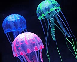 SunKni 6PCS Fake Artificial Silicon Jellyfish for Aquarium Décor Fish Tank Ornament Fish Bowl Decorations with 6 Color Mini Pretty Jelly Fishes (Multi)