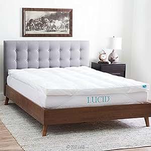 LUCID Plush Down Alternative Fiber Bed Topper - Allergen Free - King Size