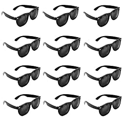 Super Z Outlet Plastic Black Vintage Retro Style Sunglasses Shades Eyewear Party Prop Favors, Decorations, Toy Gifts (12 Pairs)