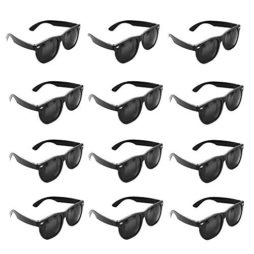 Plastic Black Vintage Retro Wayfarer Style Sunglasses Shades Eyewear for Party Prop Favors, Decorations, Toy Gifts (12 Pairs) (Sunglasses For Parties)