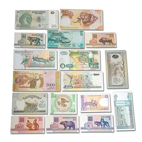 Asian Set Coin - World Banknotes Collection - Banknote Collection - 17 Pieces of 17 Different Animals of The World