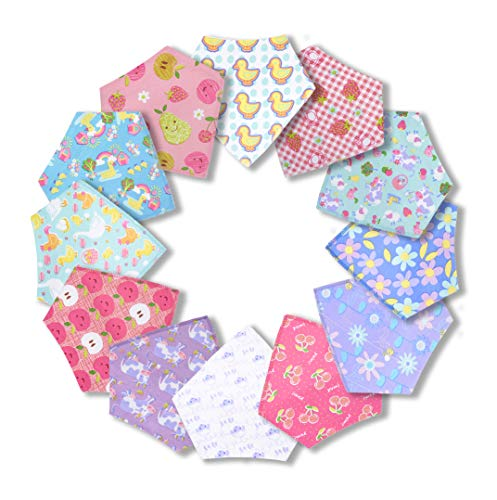 12-Pack Baby Bandana Drool Bibs for Drooling Feeding and Teething, Super Absorbent Pure 100% Organic Cotton and Hypoallergenic Bibs for Baby Girls, Infant and Toddler Shower Gift Set (Farmyard Set)