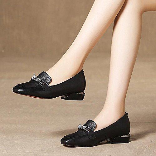 Moyen CJC Talon Chaussures Profond Carré UK3 Pointu Orteil Couleur Taille Classique EU35 Féminine A Peu A Mode 8wqf8r0d