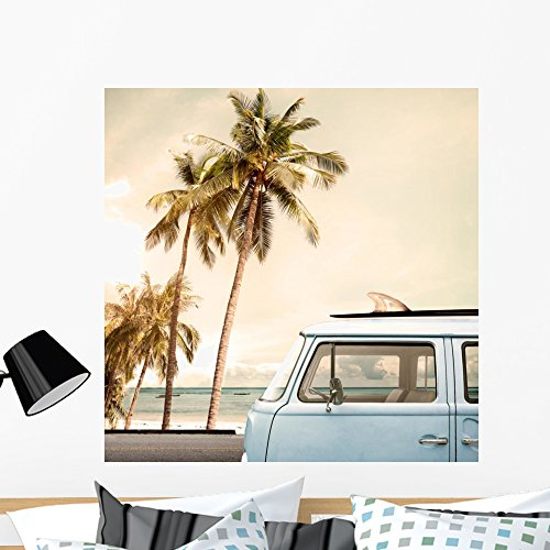 Wallmonkeys Vintage Car Parked Tropical Wall Mural Peel and Stick Graphic (36 in H x 36 in W) WM361637