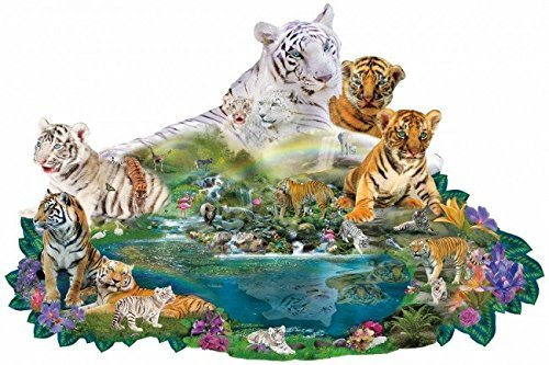 (SunsOut Tigers at The Pool - Shaped Jigsaw Puzzle)