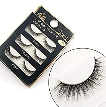 bffafdecec2 Amazon.com : Sunniess Hair Imported Fiber 3D Mink False Eye lashes Handmade  Reusable Long Cross Makeup Natural 3D Fake Thick Black EyeLashes 3 Pairs(3D-06)  ...