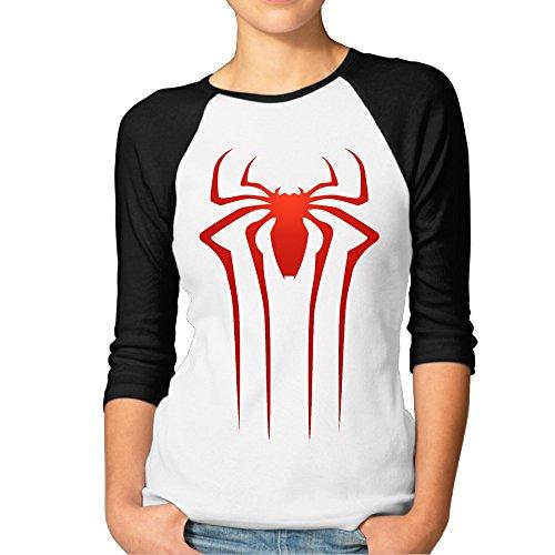 YUVIA Men's Geek The Amazing Spider Raglan 3/4 Sleeve