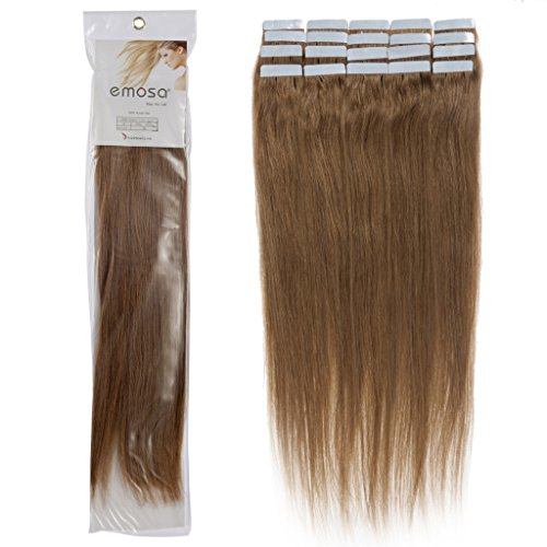 Emosa 22 inch Remy Straight Tape Skin Seamless Silky Human Hair Extensions #08 Chustnut Brown 50g