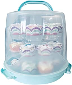 MANO 24 Cake Carrier Stand Cupcake Carrier Container Portable 3 Tier Cupcake Transporter Dome Box Muffin Holder with Locking Lid and Handle for Pie Cookies(Blue)