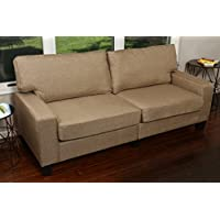 Home Life 2 Person Love Seat Contemporary Pocket Coil Hardwood Sofa 280 61 Wide - Light Brown
