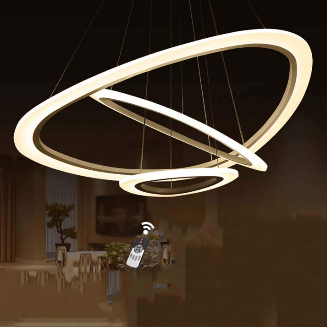 3リングLEDシャンデリア調整可能なモダンなLEDシャンデリア照明器具モダンなレストランキッチンアイランド照明、無段階調光、74 * 120 cm、72 w B07T6HMP51