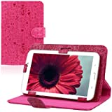 """Aokdis Universal Leather Stand Case Folio Cover Magic Leather Case for RCA 7"""" 7 Inch Android Tablet Pc (Hot Pink 2)"""