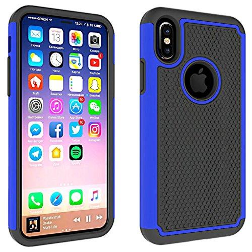 iPhone7 Plus 5.5inch Funda, Resistente Impactos Armadura A Prueba de Choques Escudo Cáscara Dura 2in1 Combinación Bola Patrón para iPhone7 Plus 5.5inch (Negro) Azul