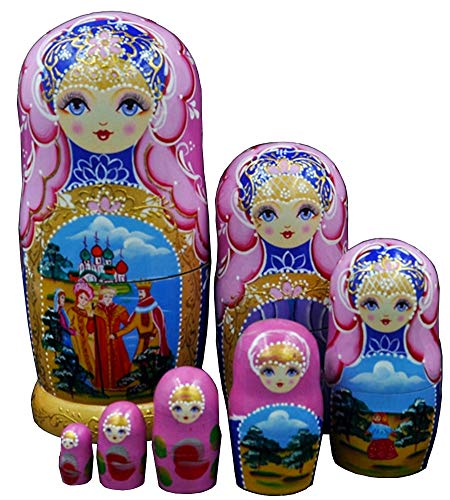 Moonmo 7pcs Beautiful Handmade Wooden Russia Nesting Dolls Gift Russian Nesting Wishing Dolls Matryoshka Traditional