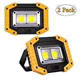 2-Pack LED Floodlight Rechargeable, Work Lights Portable 30W with USB, Spotlight Waterproof Outdoor for Car Repairing, Fishing, Camping, Hiking, Emergency Security Lights, 3 Mode