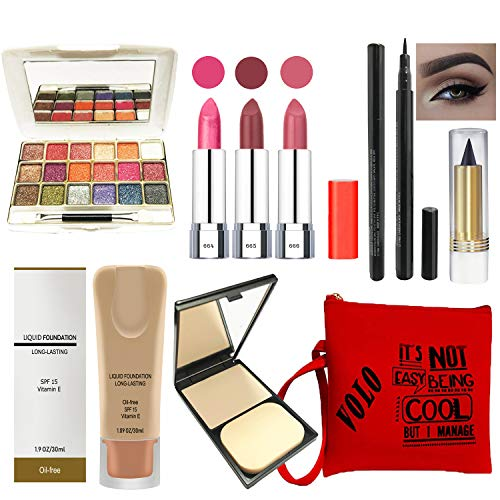 volo Stylish Beauty combo makeup set (3 Pcs Lipsticks,1 Eye Shadow, 1 Foundation,1 Eyeliner, 1 Compact, 1 Kajal, 1 Pouch…