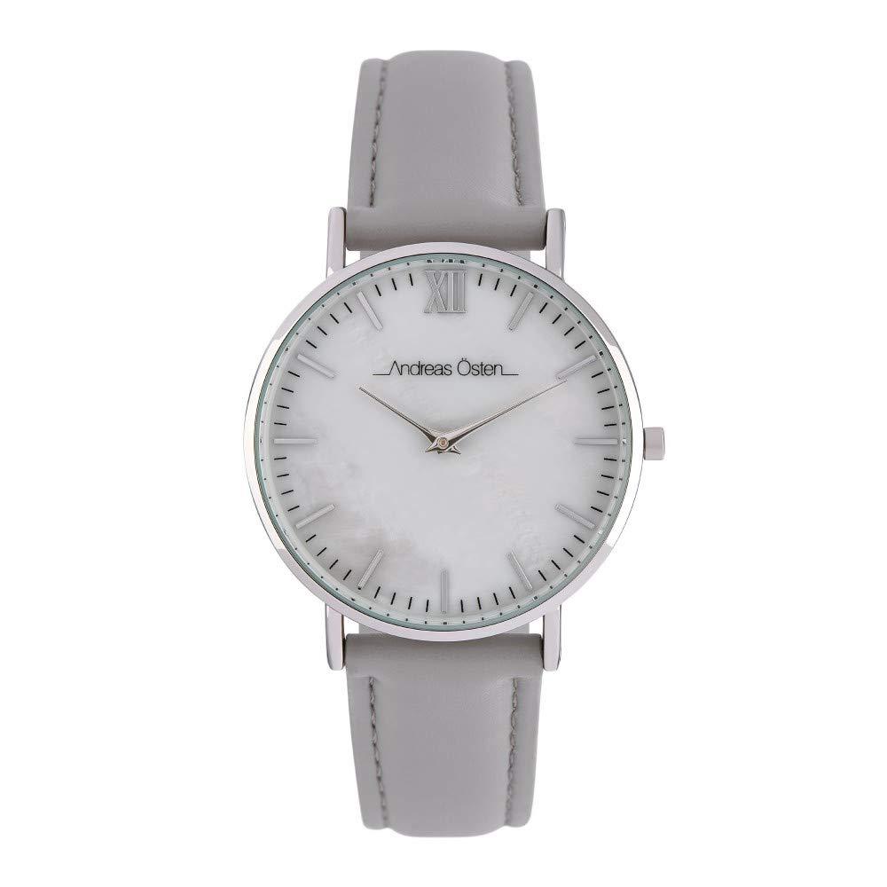 Montre Femme Andreas Osten à Quartz Cadran Blanc 36mm Et Bracelet Argenté En PU AOS18032