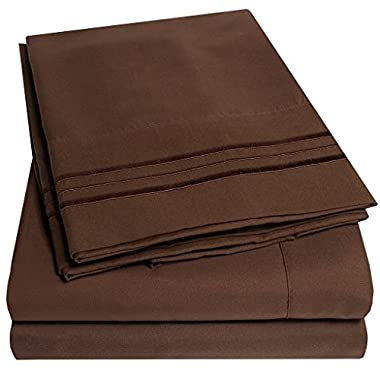 1500 Supreme Collection Bed Sheets - PREMIUM QUALITY BED SHEET SET & LOWEST PRICE, SINCE 2012 - Deep Pocket Wrinkle Free Hypoallergenic Bedding - Over 40+ Colors & Prints- 4 Piece, King, Brown