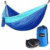 EzGoo Camping Hammock, Double Hammock Portable Nylon Taffeta Outdoor Travel - Blue & Sky Blue