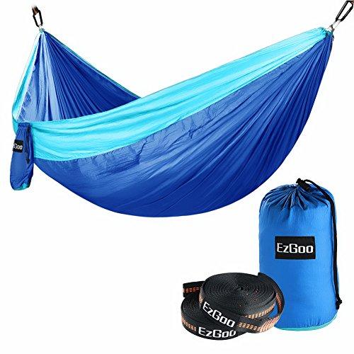 EzGoo Camping Hammock, Double Hammock Portable Nylon Taffeta for Outdoor Travel - Blue & Sky Blue