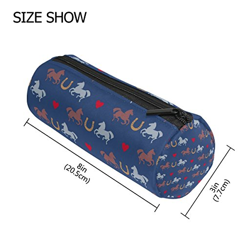 LORVIES Racing Horses And Horseshoes Pattern Pencil Case Cylinder Shape Pen Stationery Pouch Bag Cosmetic Makeup Bag