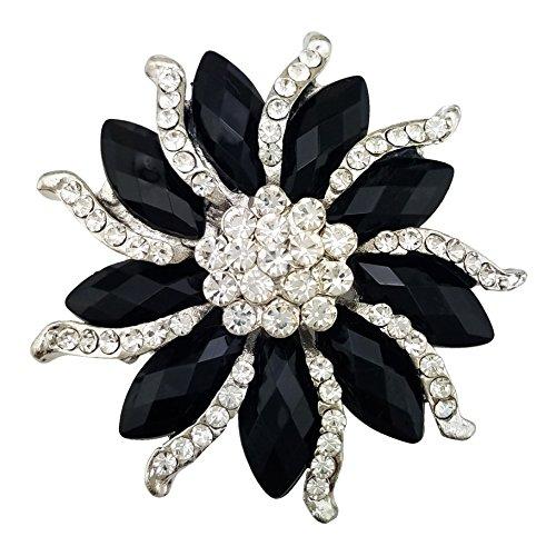 SELOVO Womens Black Crystal Rhinestone Flower Party Brooch Pin Silver Tone ()