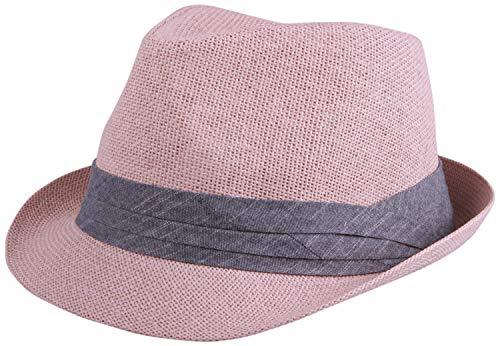 Enimay Unisex Vintage Fedora Hat Classic Timeless Light Weight 2119 - Pink Size S/M ()