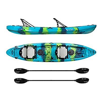 Vibe Kayaks Yellowfin 130T 13 -foot Tandem Sit On Top Kayak 2 or 3 Person Package - Includes 2 Hero Seats and 2 Paddles