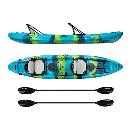 Vibe Kayaks Yellowfin 130T 13 Foot Tandem Angler and Recreational Two Person Sit On Top Fishing Kayak with 2 Paddles and 2 Hero Comfort Seats and Flush Rod Holders and Built in Storage Included (5)