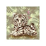 Amaping DIY 5D Diamond Painting by Number Kits Crystal Rhinestone Beads Pasted Embroidery Cross Stitch Kits Embellishment Arts Craft for Home Wall Hanging Decor (Little Tiger)