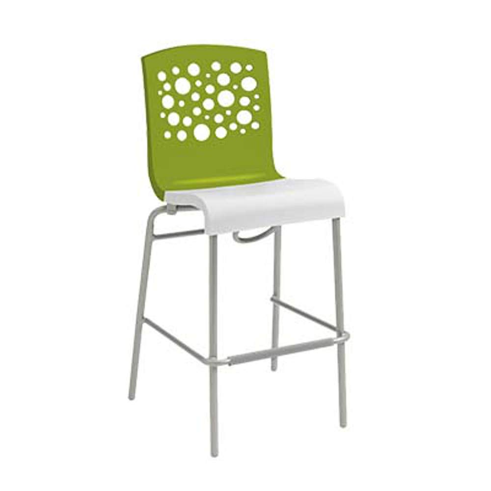 Grosfillex US836152 Tempo Stacking Barstool, Fern Green with White Seat (Case of 8)