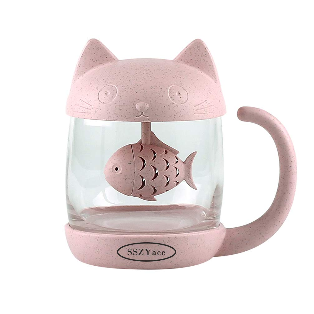 Father\'s Day Gift Cup Pink Cute Cat Teacup With Fish Filter Lovely Glass Cup Suit For Milk Juice Tea Fruit Salad Present for Dad Mom, Mather\'s Day Gift
