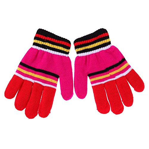 Colorful Acrylic Magic Stretch Sherpa Lined Knit Mittens Gloves, Essential For Kids-Boys-Girls, Keeps Warm From Winter (Standard Knit Glove)