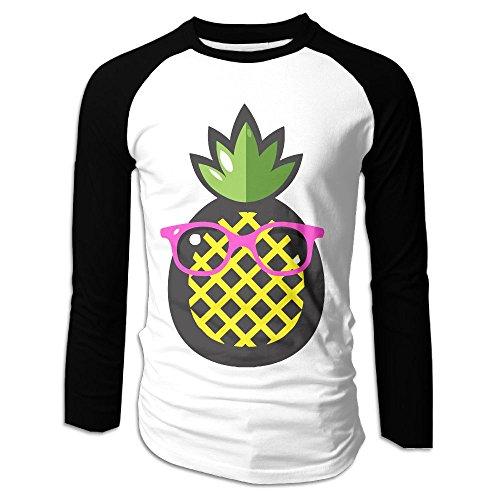Men's Pineapple Green Leaves Pink Sunglasses Casual Novelty Crew Neck Long Sleeve Raglan Baseball Tee - Westbrook Sunglasses