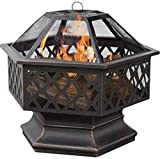 (Ship from USA) Deep Bronze 6-Sided Lattice Wood Burning Fire Pit Bowl and Wood Grate New /ITEM NO#8Y-IFW81854265540