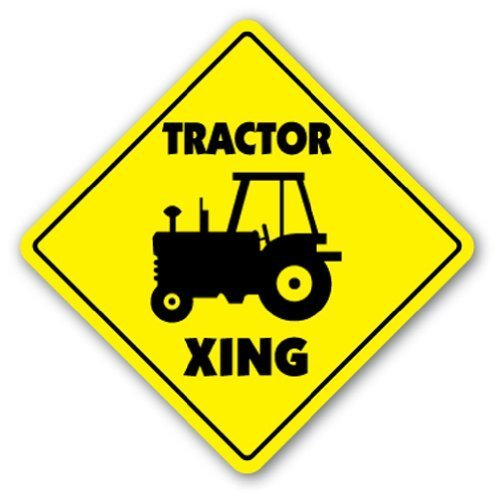 Novelty Sign Gift Tractor Crossing Sign Xing Farmer Case Farmall Yard Decorative Aluminum Metal Sign for Bedroom, Offices
