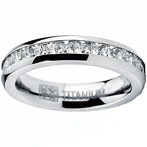 4MM High Polish Princess Cut Ladies Eternity Titanium Ring Wedding Band with CZ Size 6.5
